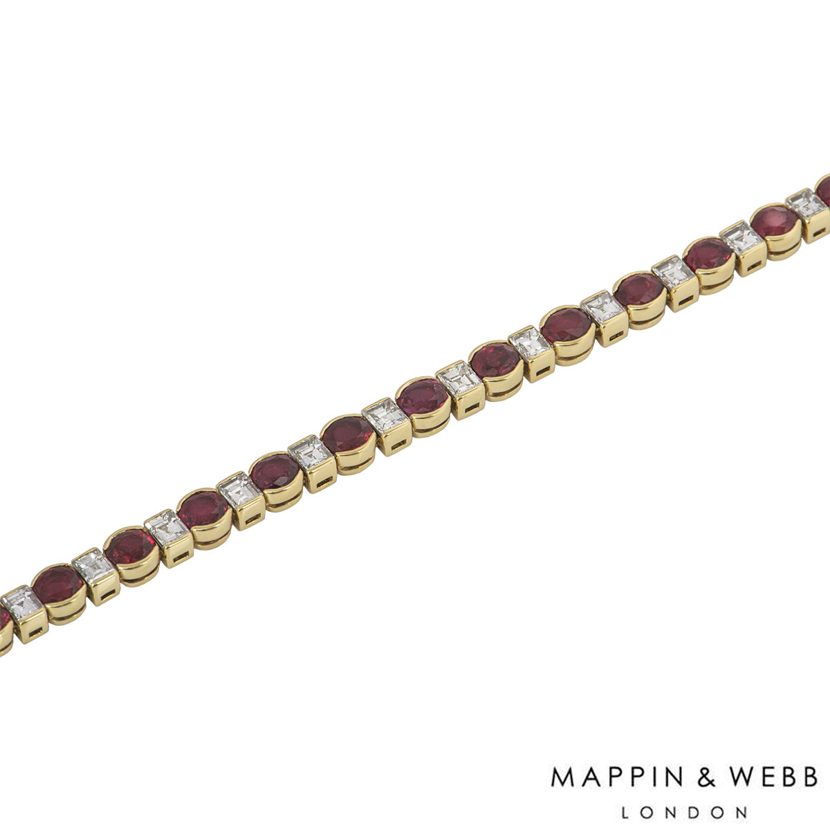 Mappin & Webb Yellow Gold Diamond And Ruby Line Bracelet